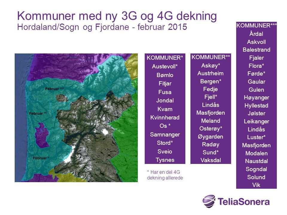 Kommuner med ny 3G og 4G dekning