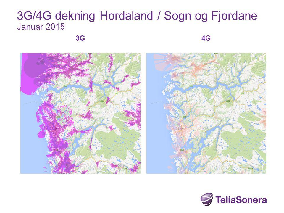 3G/4G dekning Hordaland / Sogn og Fjordane Januar 2015
