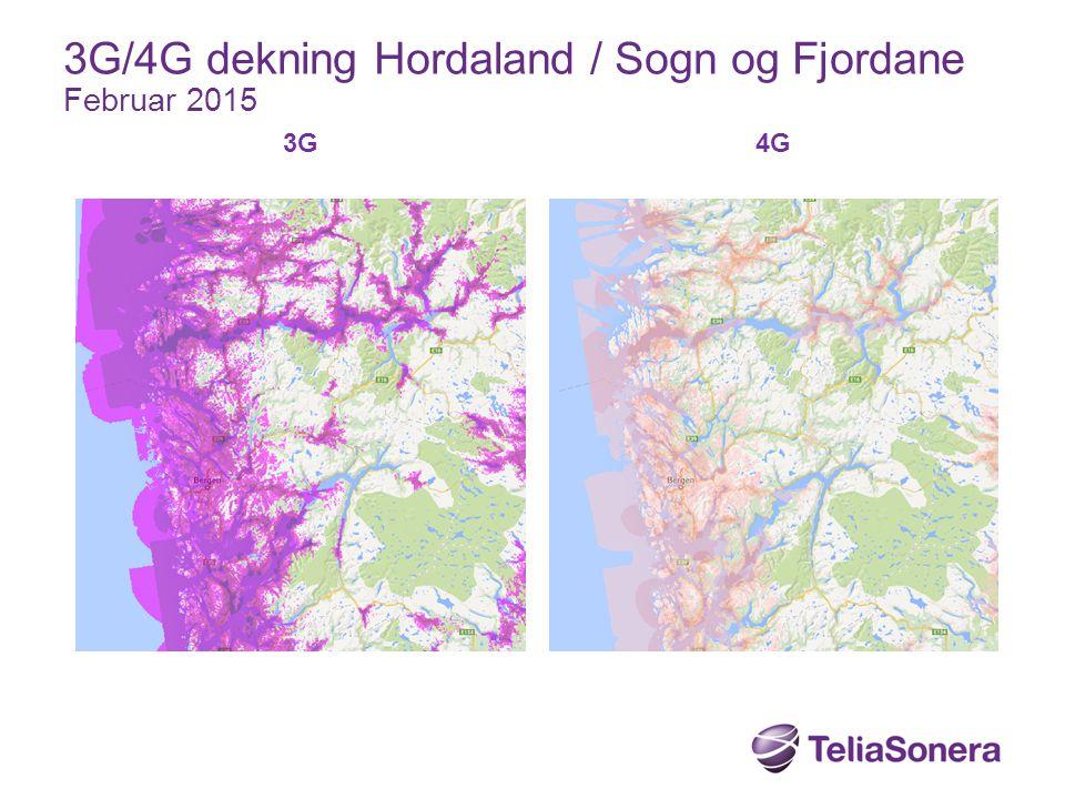 3G/4G dekning Hordaland / Sogn og Fjordane Februar 2015