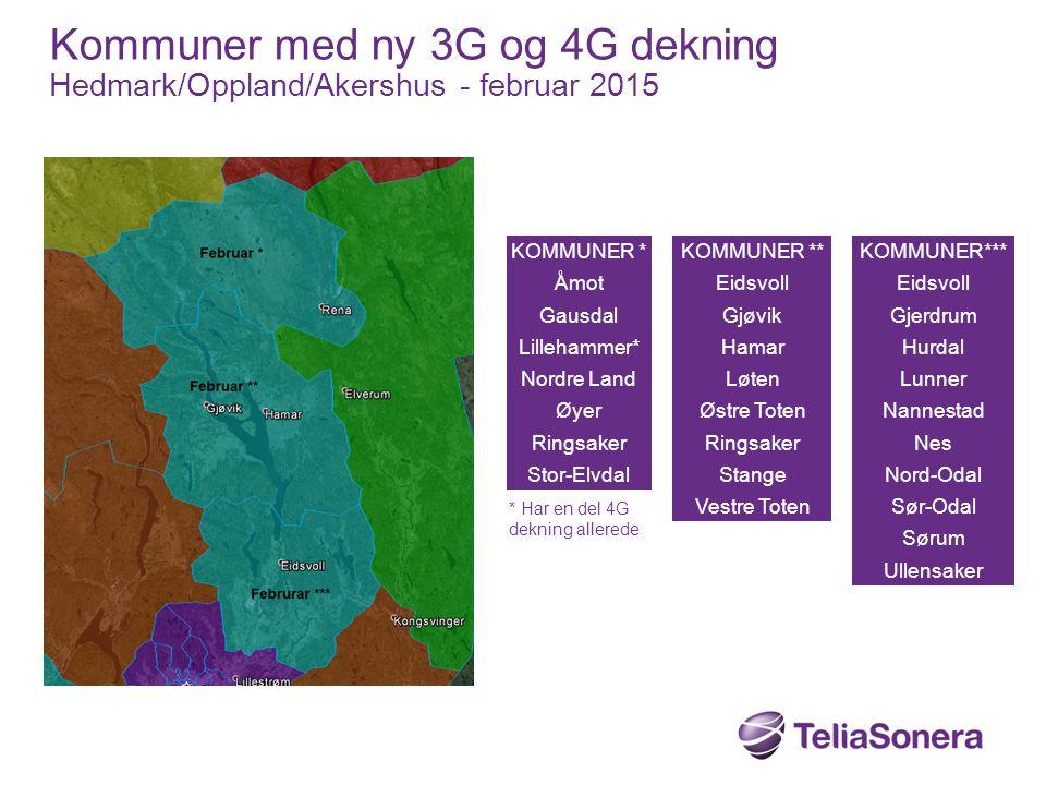Kommuner med ny 3G og 4G dekning Hedmark/Oppland/Akershus - februar 2015