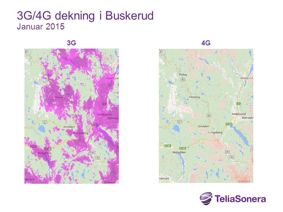 3G/4G dekning i Buskerud Januar 2015 3G 4G
