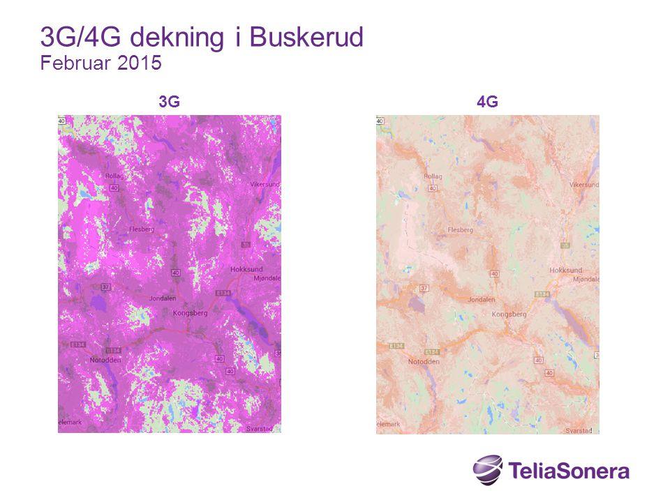 3G/4G dekning i Buskerud Februar 2015 3G 4G