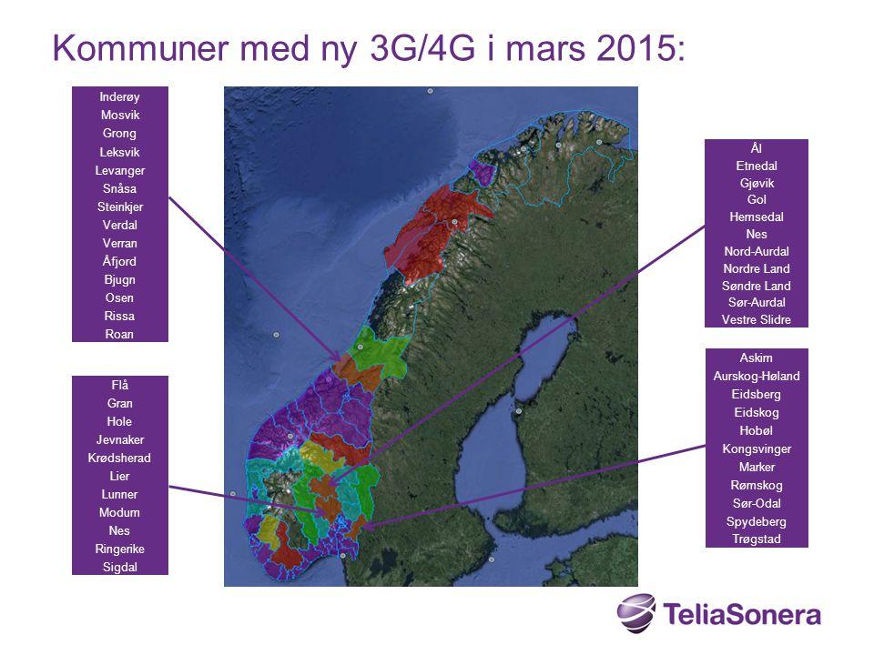 Kommuner med ny 3G/4G i mars 2015:
