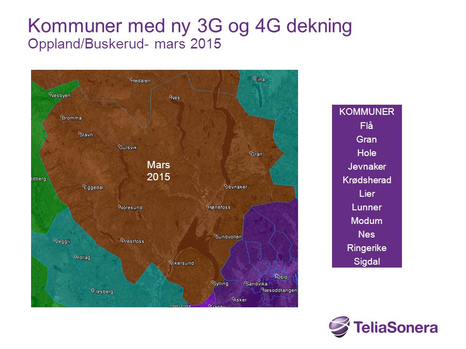 Kommuner med ny 3G og 4G dekning Oppland/Buskerud- mars 2015