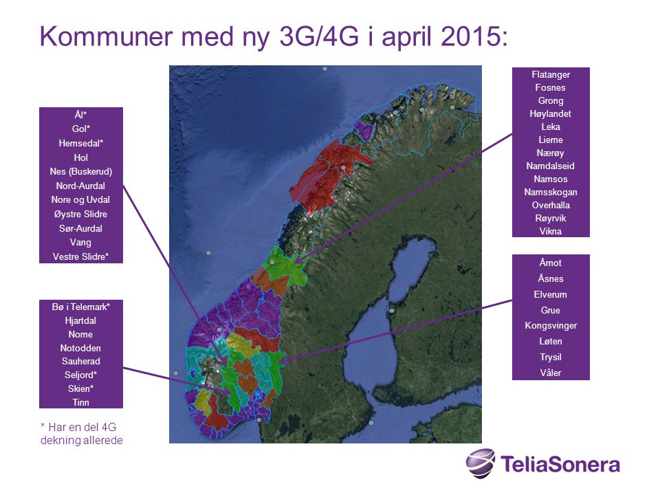 Kommuner med ny 3G/4G i april 2015: