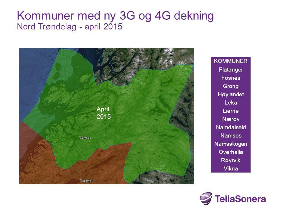 Kommuner med ny 3G og 4G dekning Nord Trøndelag - april 2015