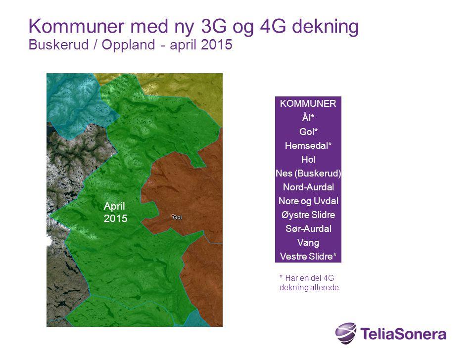 Kommuner med ny 3G og 4G dekning Buskerud / Oppland - april 2015