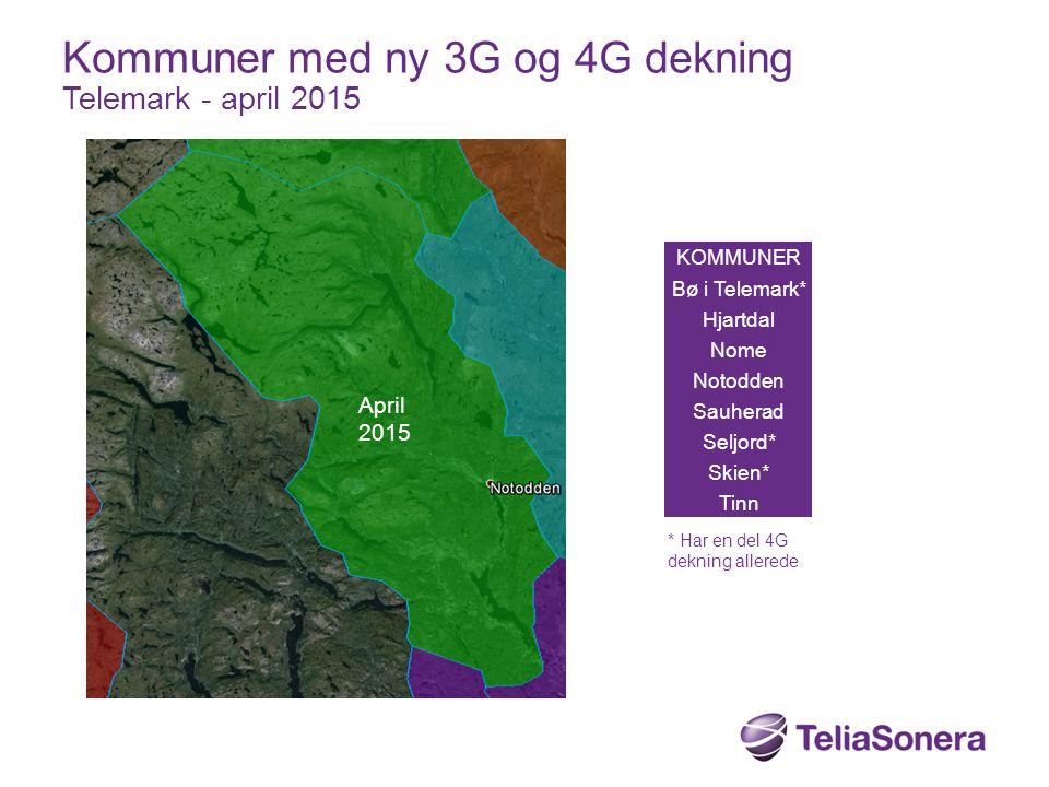 Kommuner med ny 3G og 4G dekning Telemark - april 2015