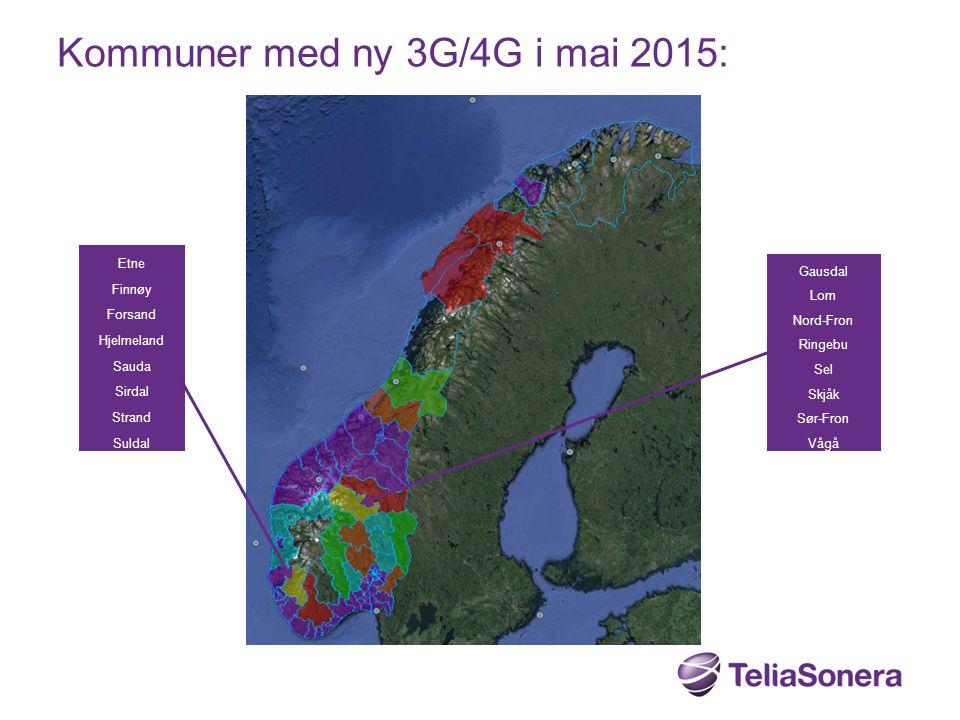 Kommuner med ny 3G/4G i mai 2015: