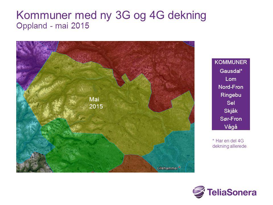 Kommuner med ny 3G og 4G dekning Oppland - mai 2015
