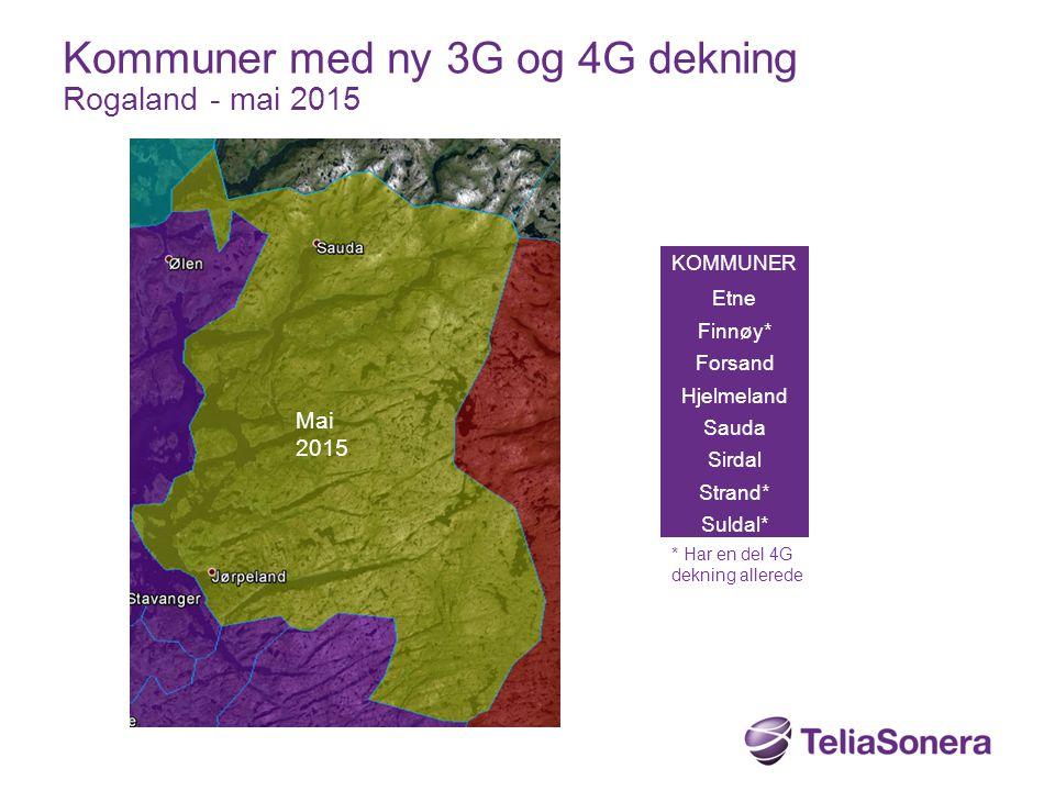 Kommuner med ny 3G og 4G dekning Rogaland - mai 2015
