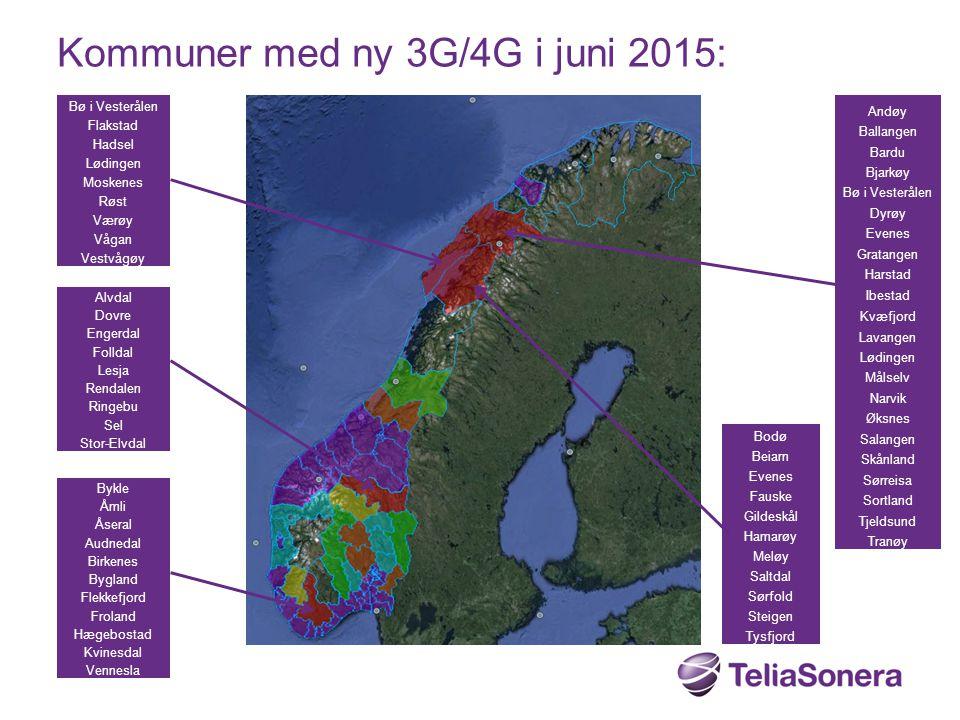 Kommuner med ny 3G/4G i juni 2015: