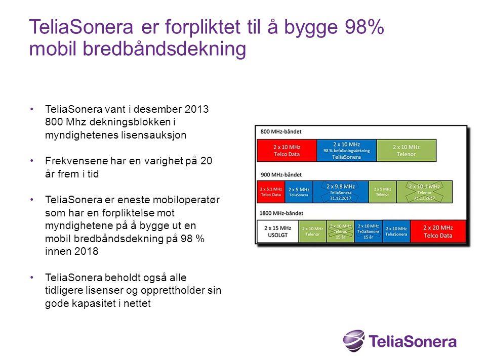 TeliaSonera er forpliktet til å bygge 98% mobil bredbåndsdekning