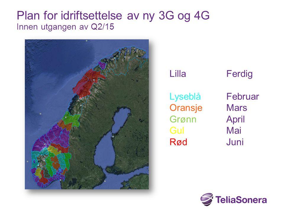 Plan for idriftsettelse av ny 3G og 4G Innen utgangen av Q2/15