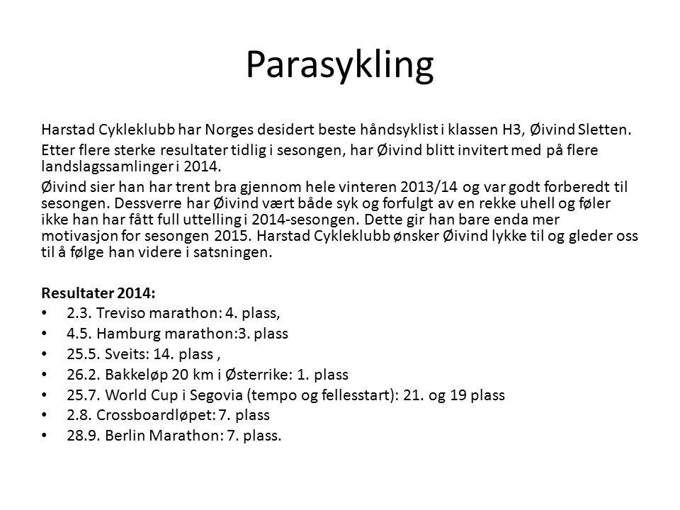 Parasykling Harstad Cykleklubb har Norges desidert beste håndsyklist i klassen H3, Øivind Sletten.