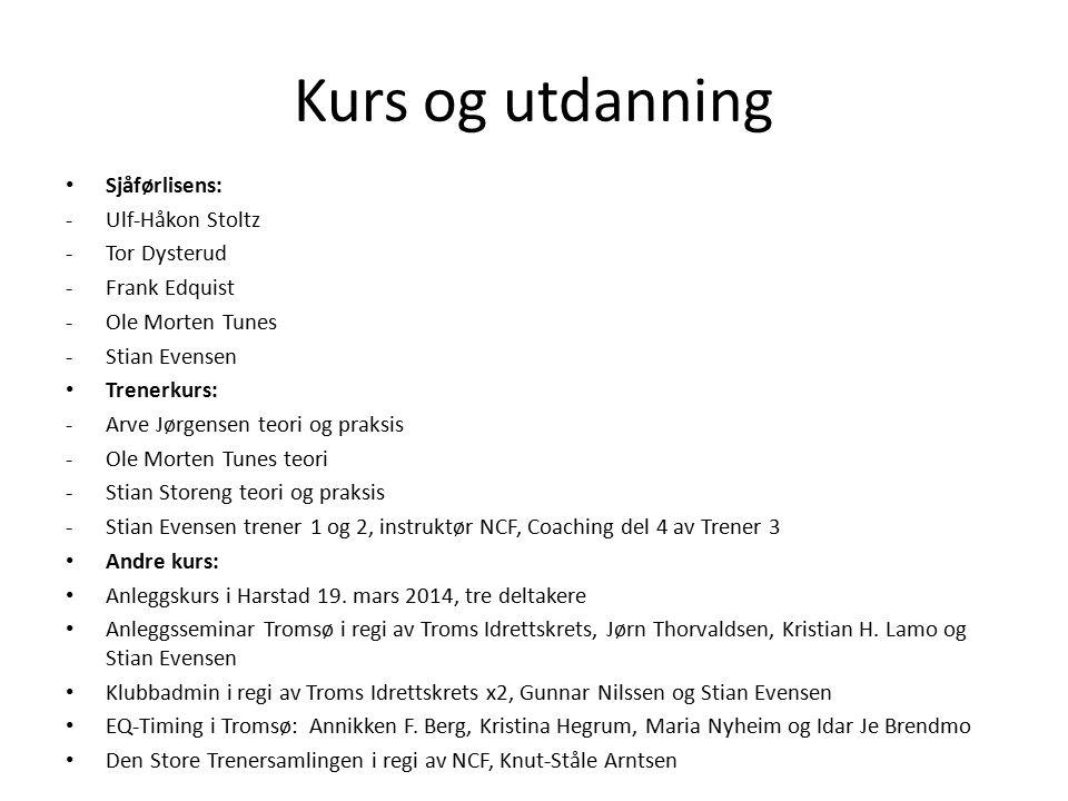 Kurs og utdanning Sjåførlisens: Ulf-Håkon Stoltz Tor Dysterud