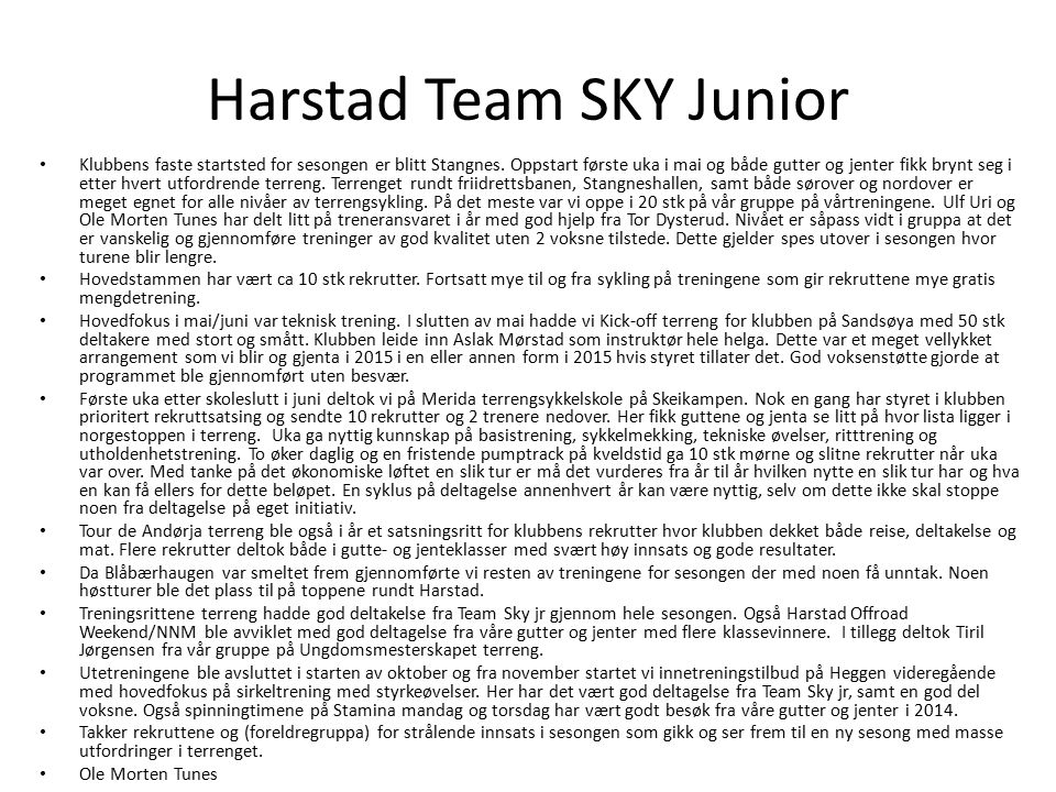 Harstad Team SKY Junior
