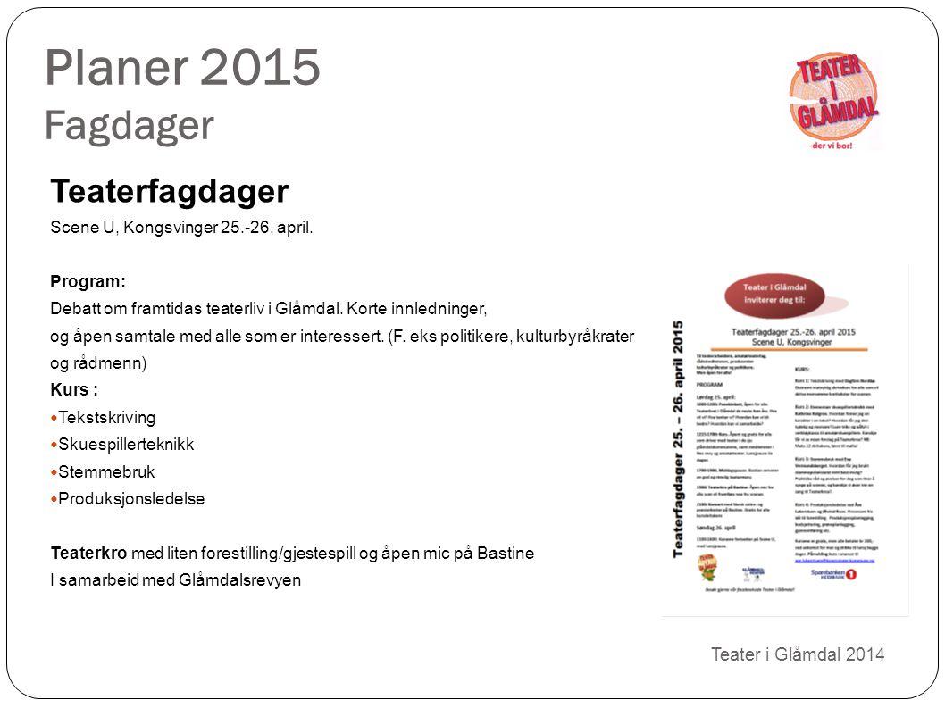 Planer 2015 Fagdager Teaterfagdager 10 Teater i Glåmdal 2014