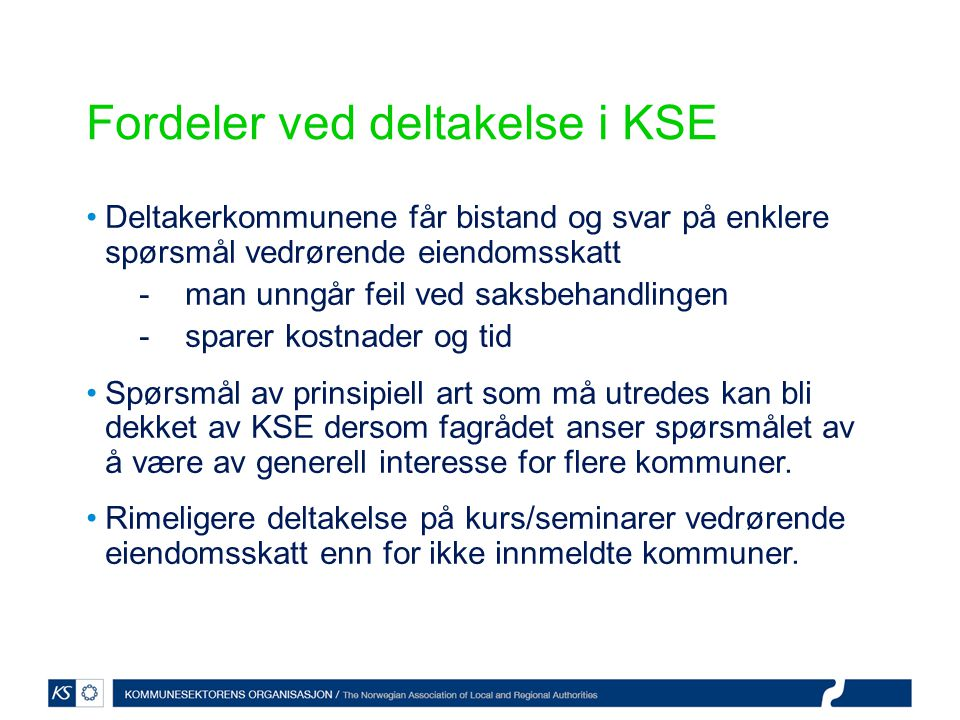 Fordeler ved deltakelse i KSE