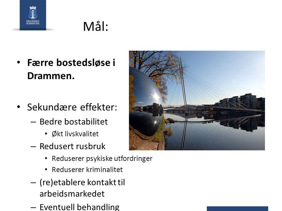 Mål: Færre bostedsløse i Drammen. Sekundære effekter: