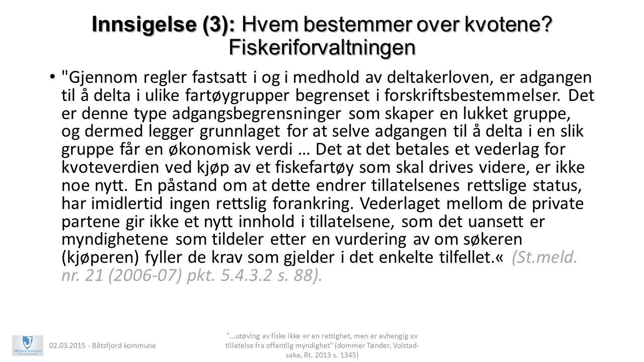 Innsigelse (3): Hvem bestemmer over kvotene Fiskeriforvaltningen
