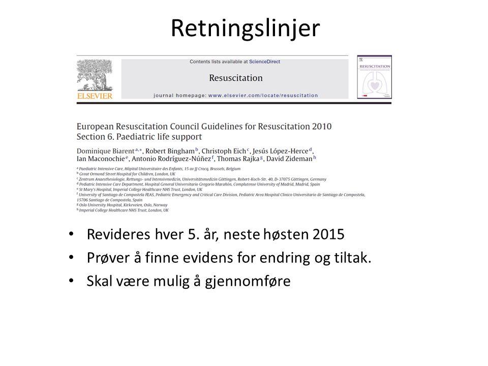 Retningslinjer Revideres hver 5. år, neste høsten 2015