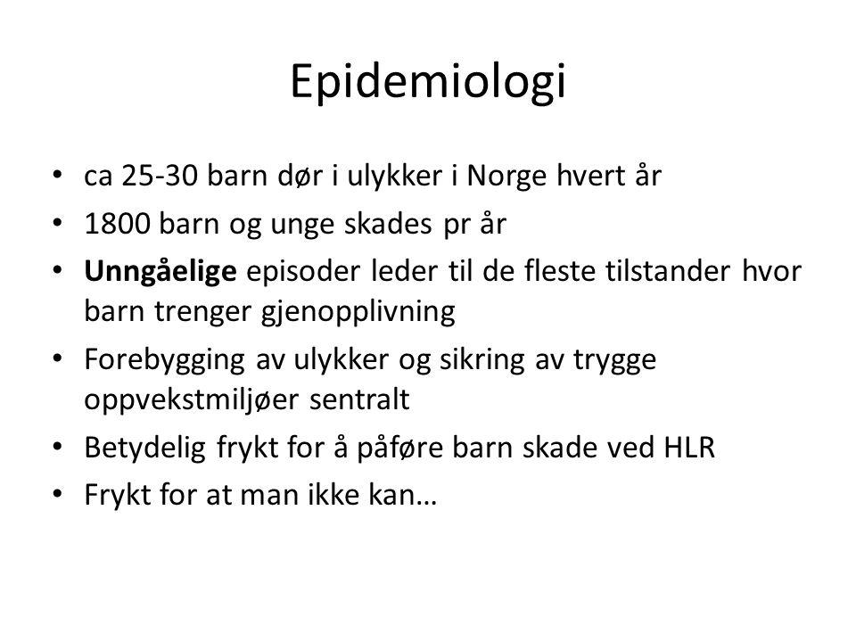 Epidemiologi ca 25-30 barn dør i ulykker i Norge hvert år