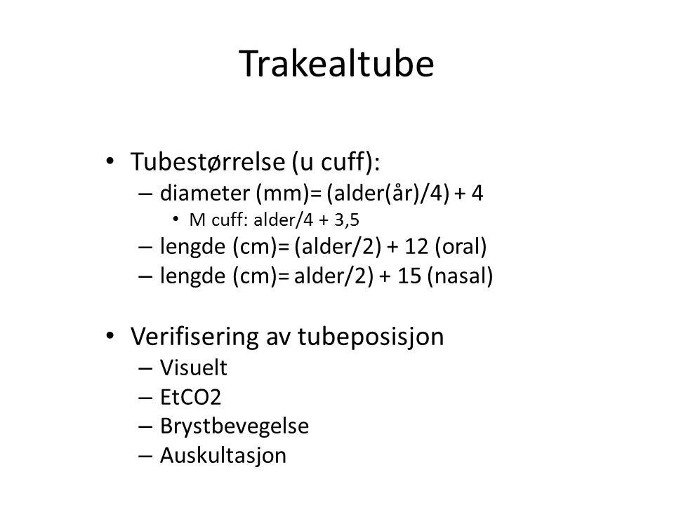 Trakealtube Tubestørrelse (u cuff): Verifisering av tubeposisjon