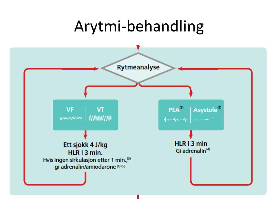 Arytmi-behandling Mens HLR pågår og noen har tatt seg av luftveiene, er defibrillatoren blitt tilkoblet og gjoer en rythmeanalyse.