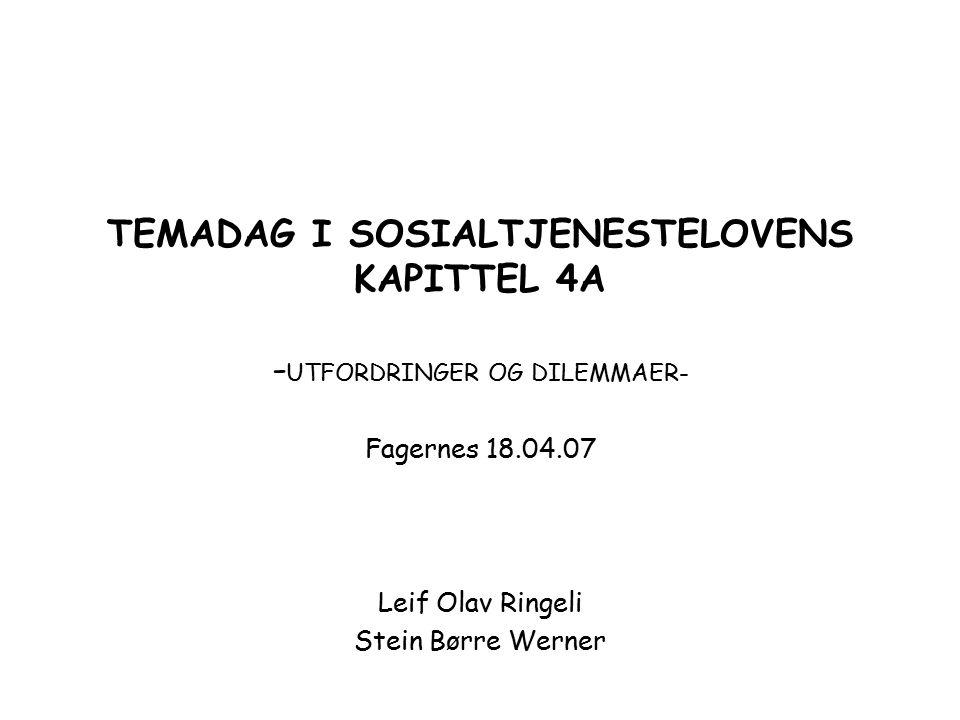 TEMADAG I SOSIALTJENESTELOVENS KAPITTEL 4A -UTFORDRINGER OG DILEMMAER-