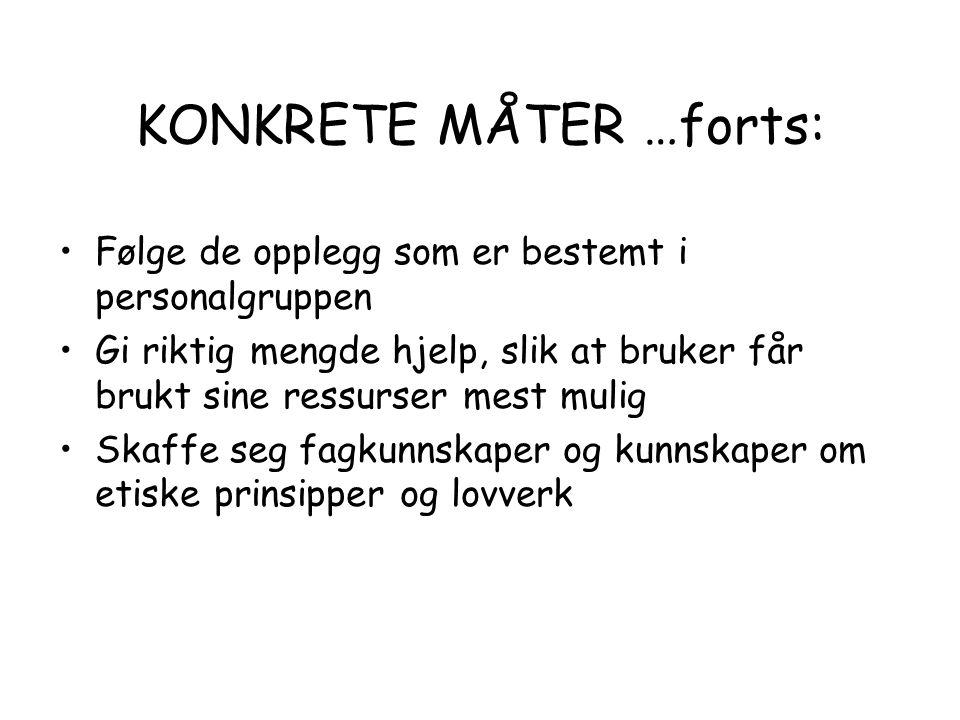 KONKRETE MÅTER …forts: