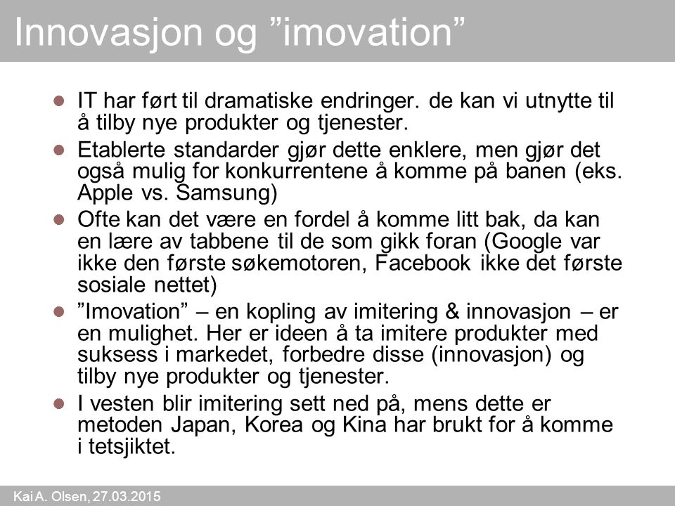 Innovasjon og imovation