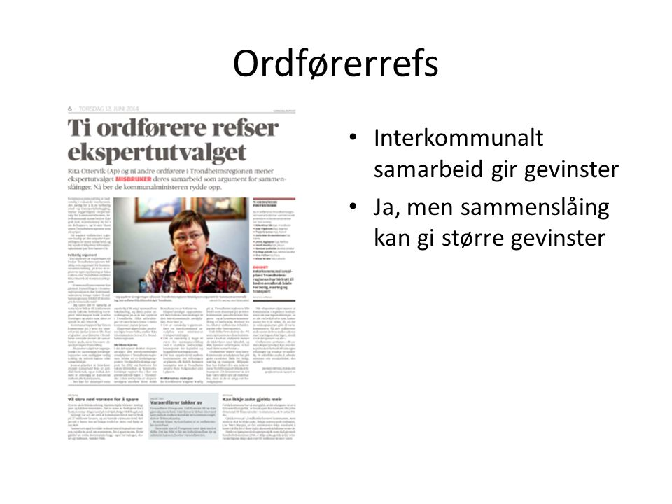 Ordførerrefs Interkommunalt samarbeid gir gevinster