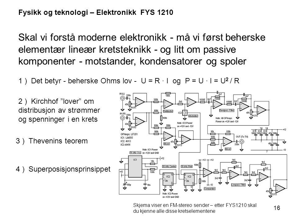 Fysikk og teknologi – Elektronikk FYS 1210