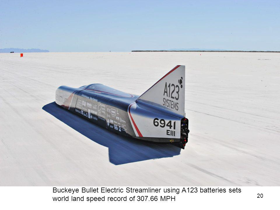 Buckeye Bullet Electric Streamliner using A123 batteries sets world land speed record of 307.66 MPH