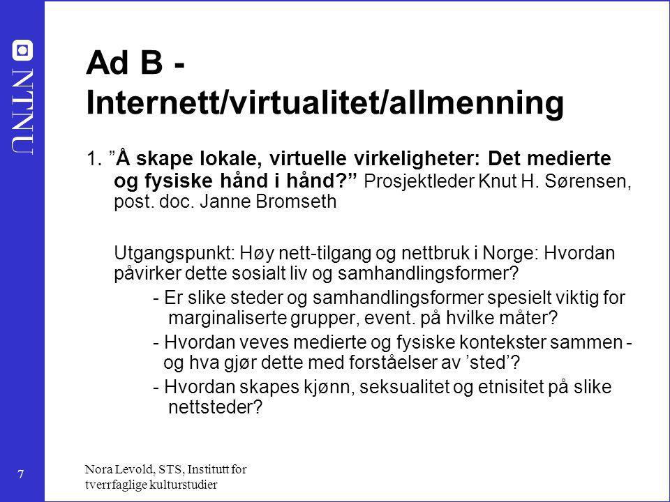 Ad B - Internett/virtualitet/allmenning