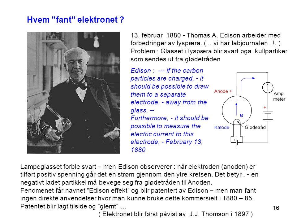 Hvem fant elektronet