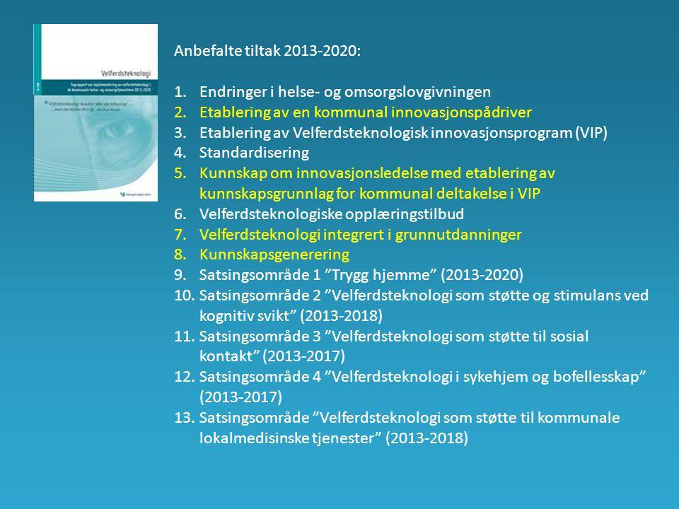 Anbefalte tiltak 2013-2020: Endringer i helse- og omsorgslovgivningen. Etablering av en kommunal innovasjonspådriver.