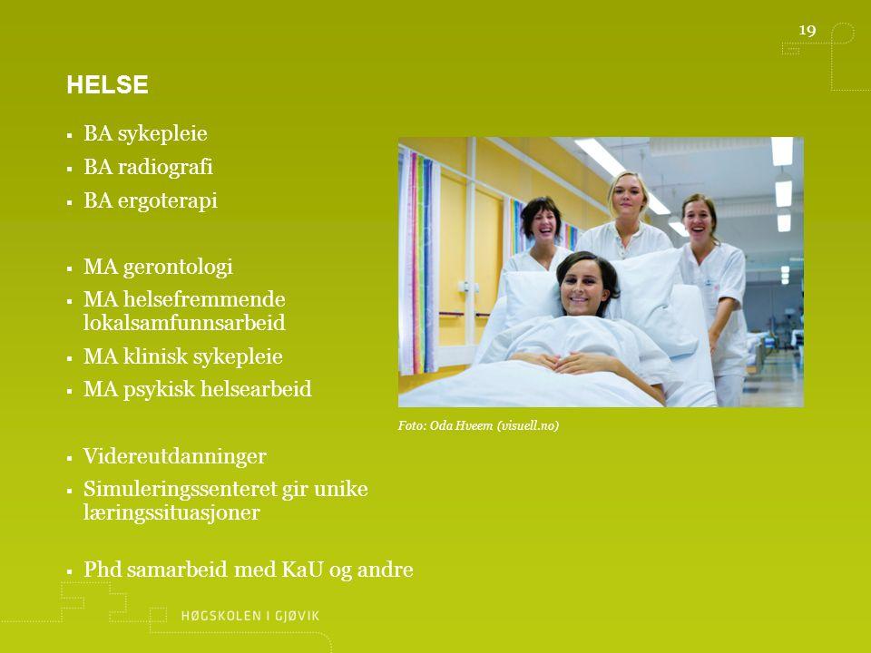 helse BA sykepleie BA radiografi BA ergoterapi MA gerontologi