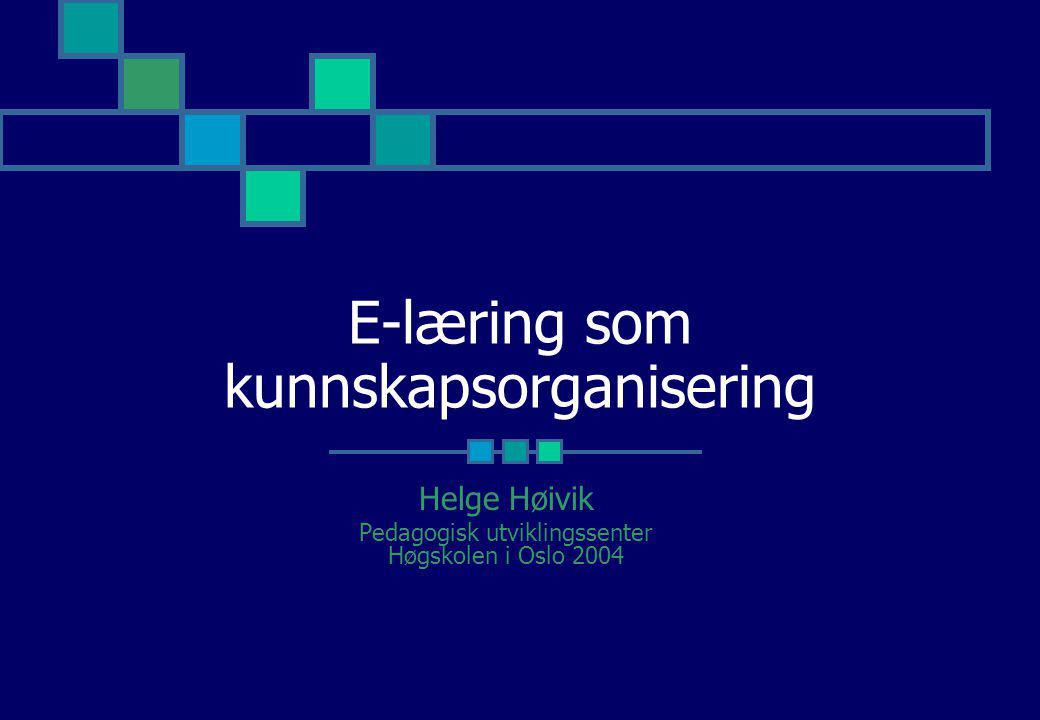 E-læring som kunnskapsorganisering
