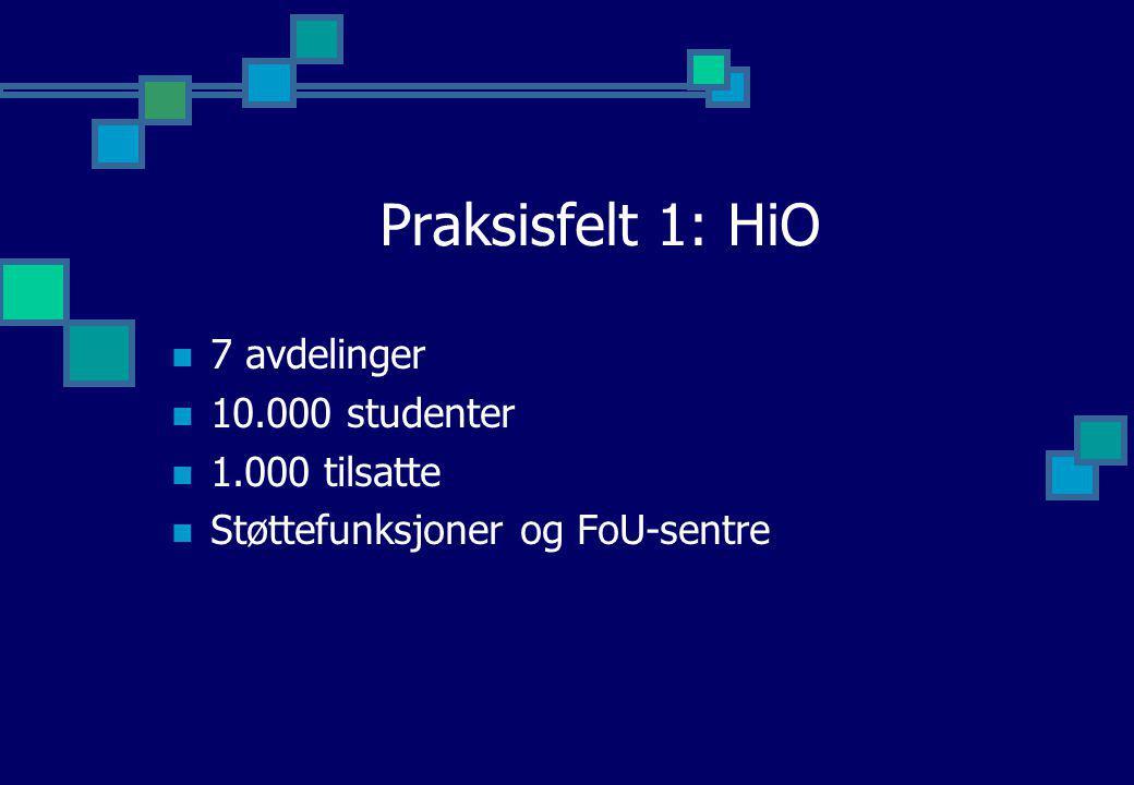 Praksisfelt 1: HiO 7 avdelinger 10.000 studenter 1.000 tilsatte
