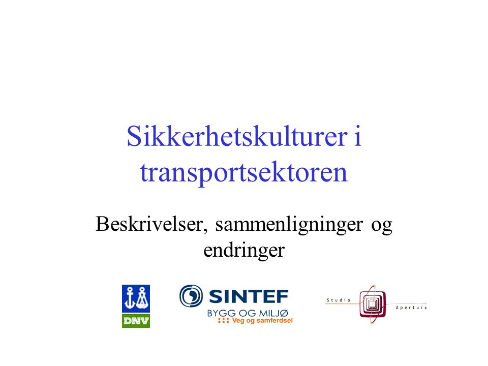 Sikkerhetskulturer i transportsektoren