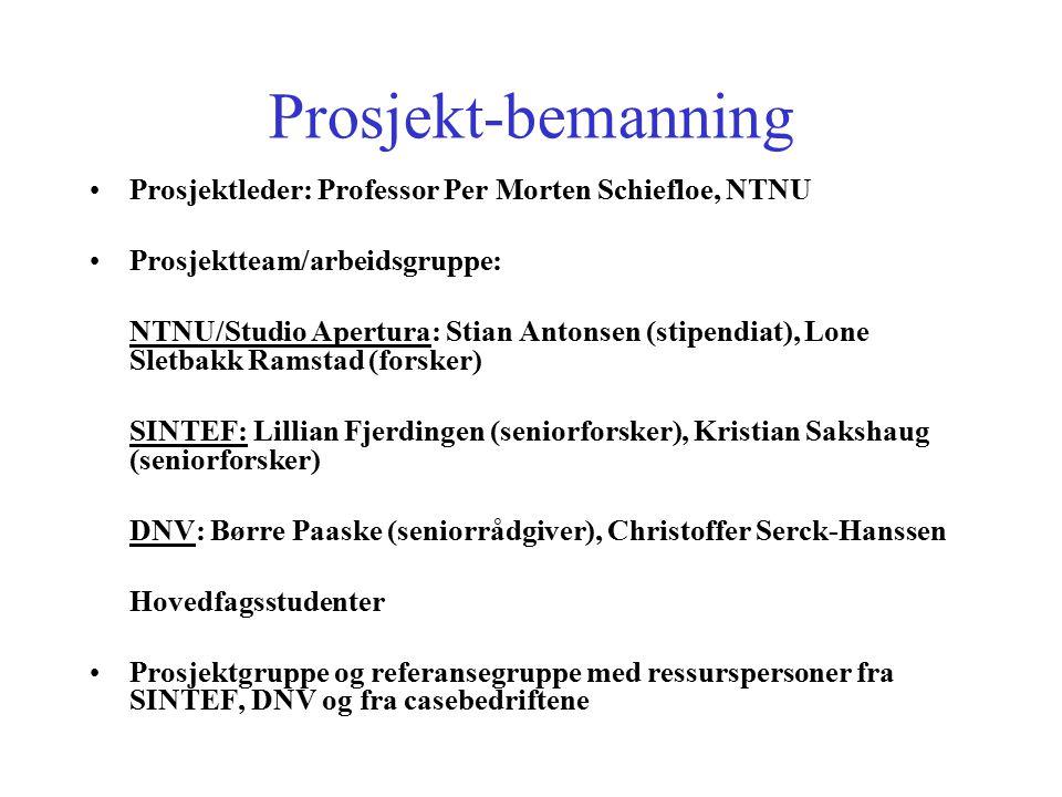 Prosjekt-bemanning Prosjektleder: Professor Per Morten Schiefloe, NTNU