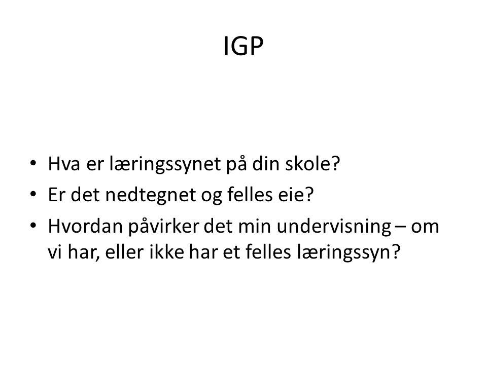 IGP Hva er læringssynet på din skole Er det nedtegnet og felles eie