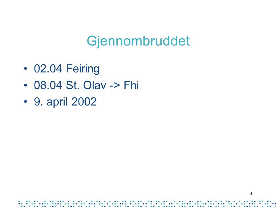 Gjennombruddet 02.04 Feiring 08.04 St. Olav -> Fhi 9. april 2002