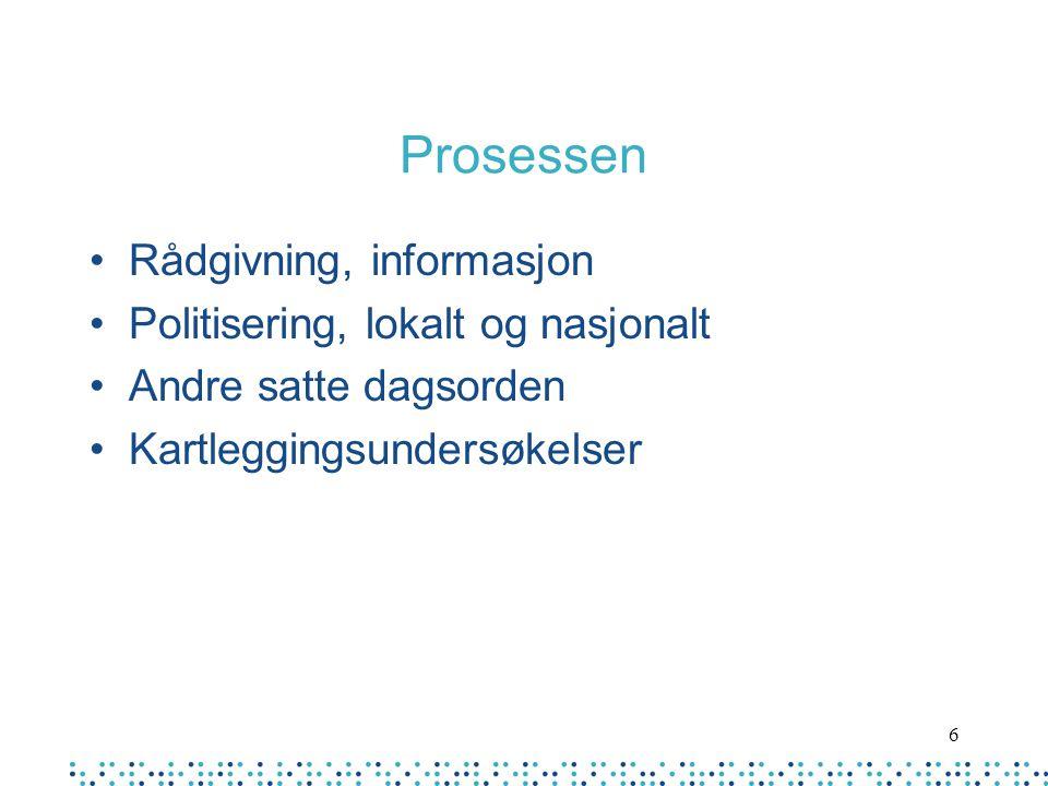 Prosessen Rådgivning, informasjon Politisering, lokalt og nasjonalt