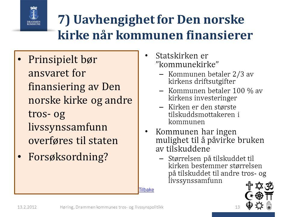 7) Uavhengighet for Den norske kirke når kommunen finansierer