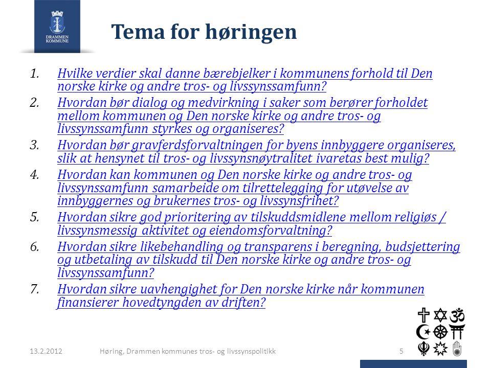 Tema for høringen Hvilke verdier skal danne bærebjelker i kommunens forhold til Den norske kirke og andre tros- og livssynssamfunn