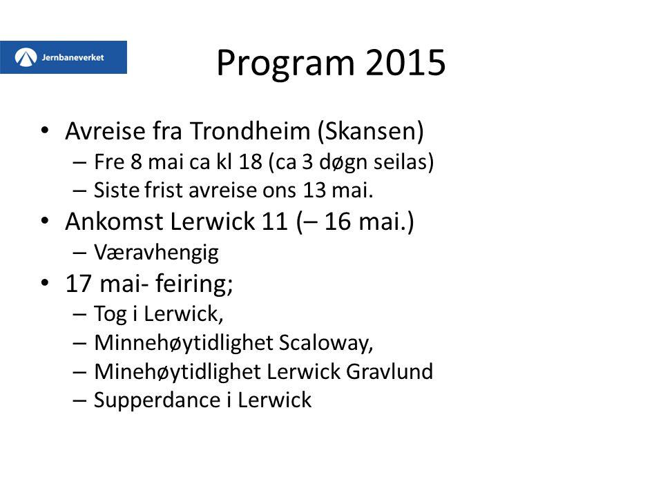 Program 2015 Avreise fra Trondheim (Skansen)