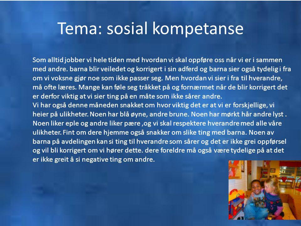 Tema: sosial kompetanse